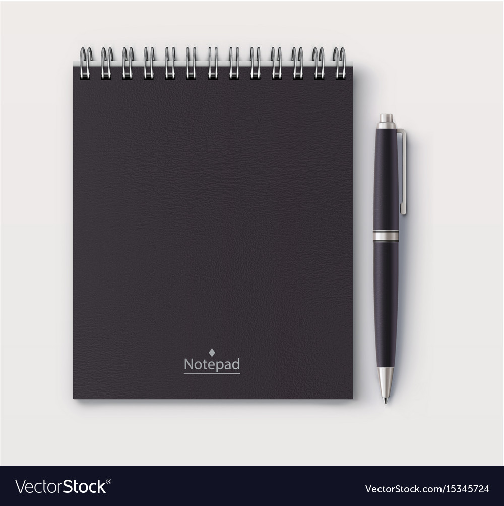 Black faux leather cover notebook vector image