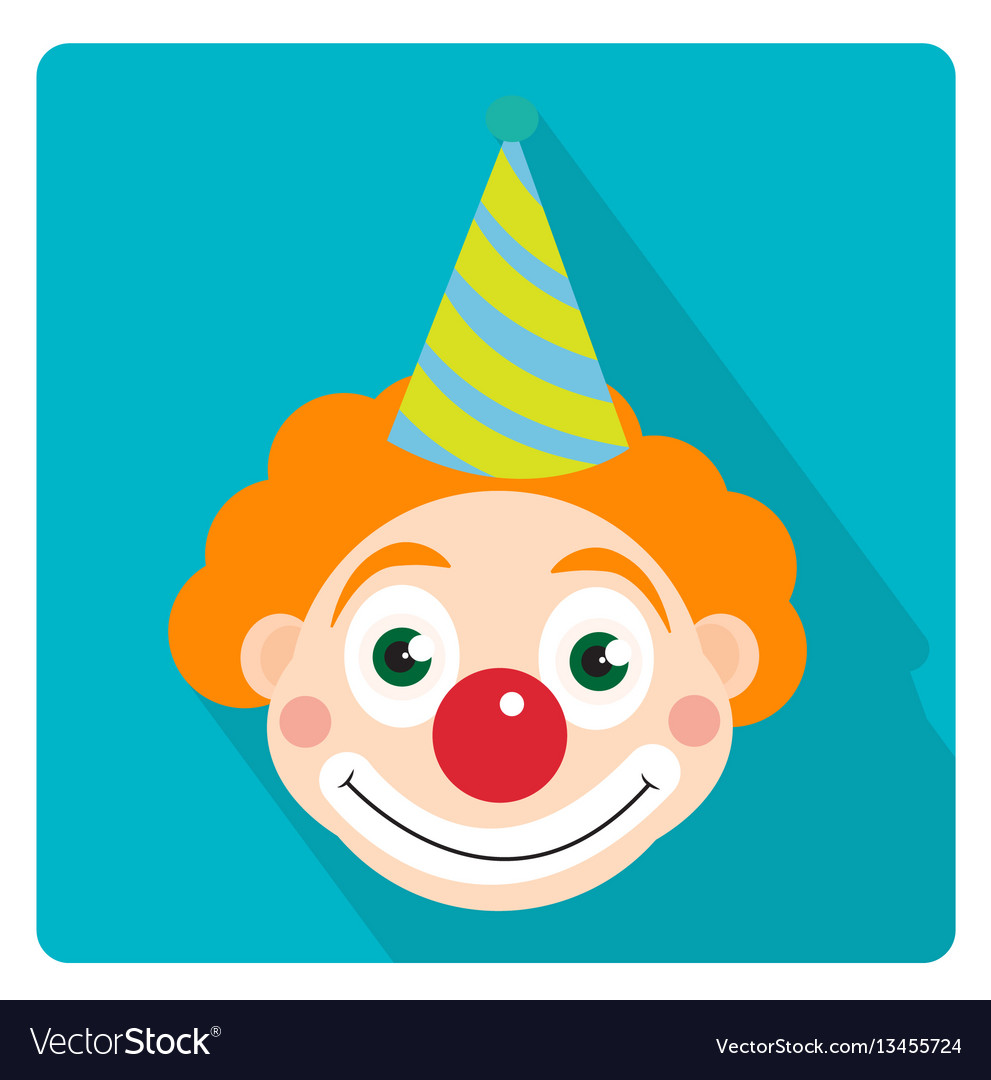 Clown icon flat style with long shadows isolated
