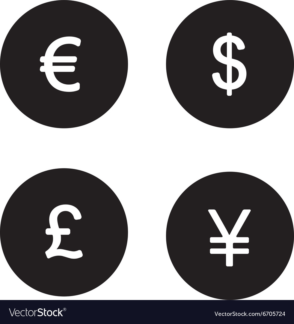 Currency Symbols Black Icons Set Royalty Free Vector Image
