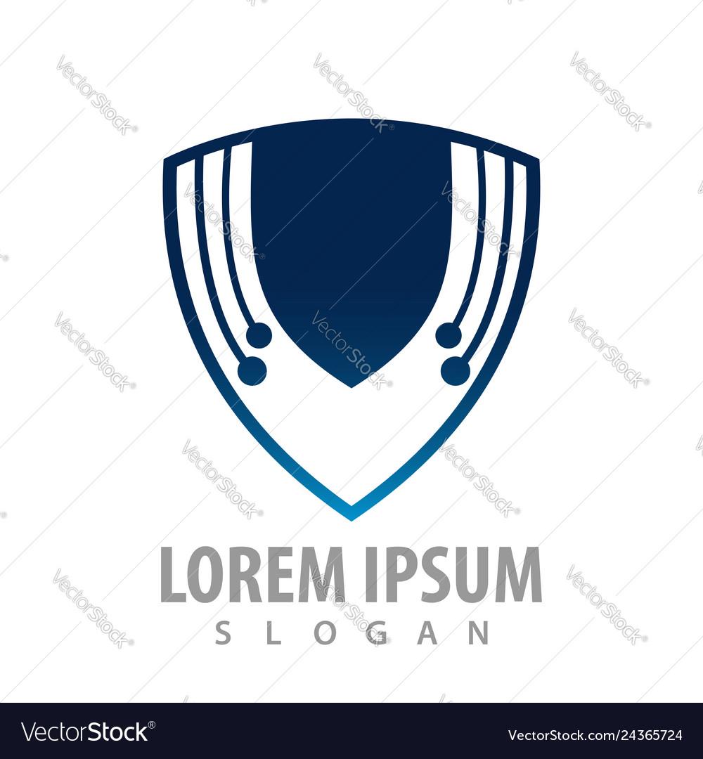 Digital tech shield concept design symbol graphic