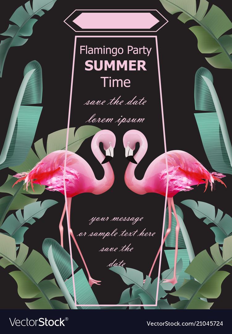 Flamingos party summer card tropic exotic