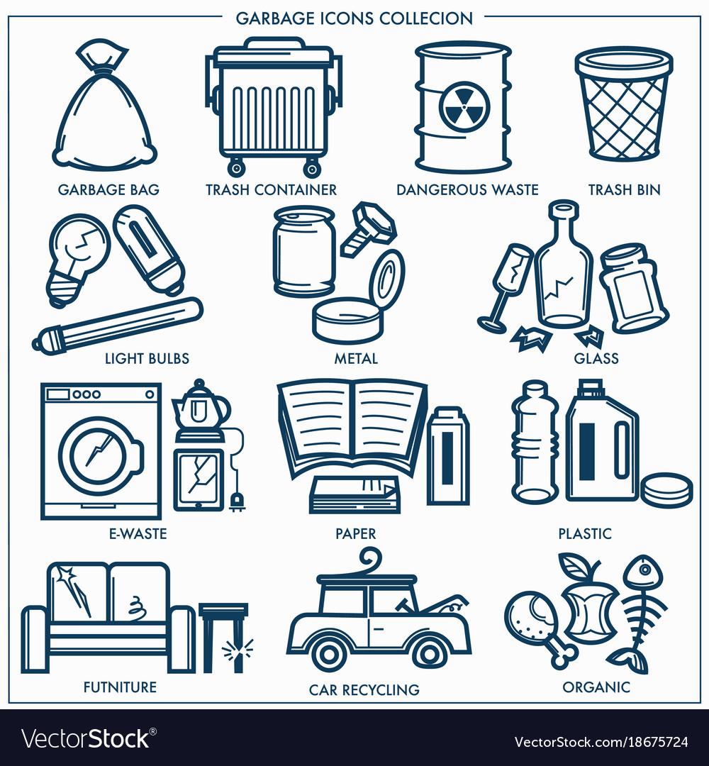Garbage or wastes trash line icons set