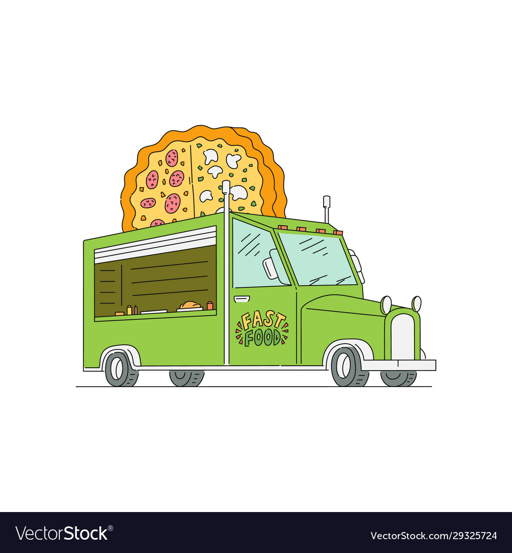 Green food truck with giant pizza logo sign