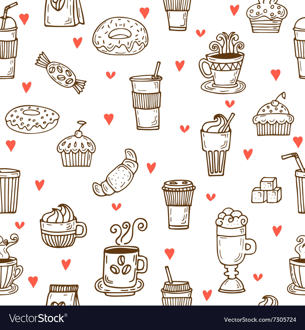 I love coffee Hand drawn seamless pattern with