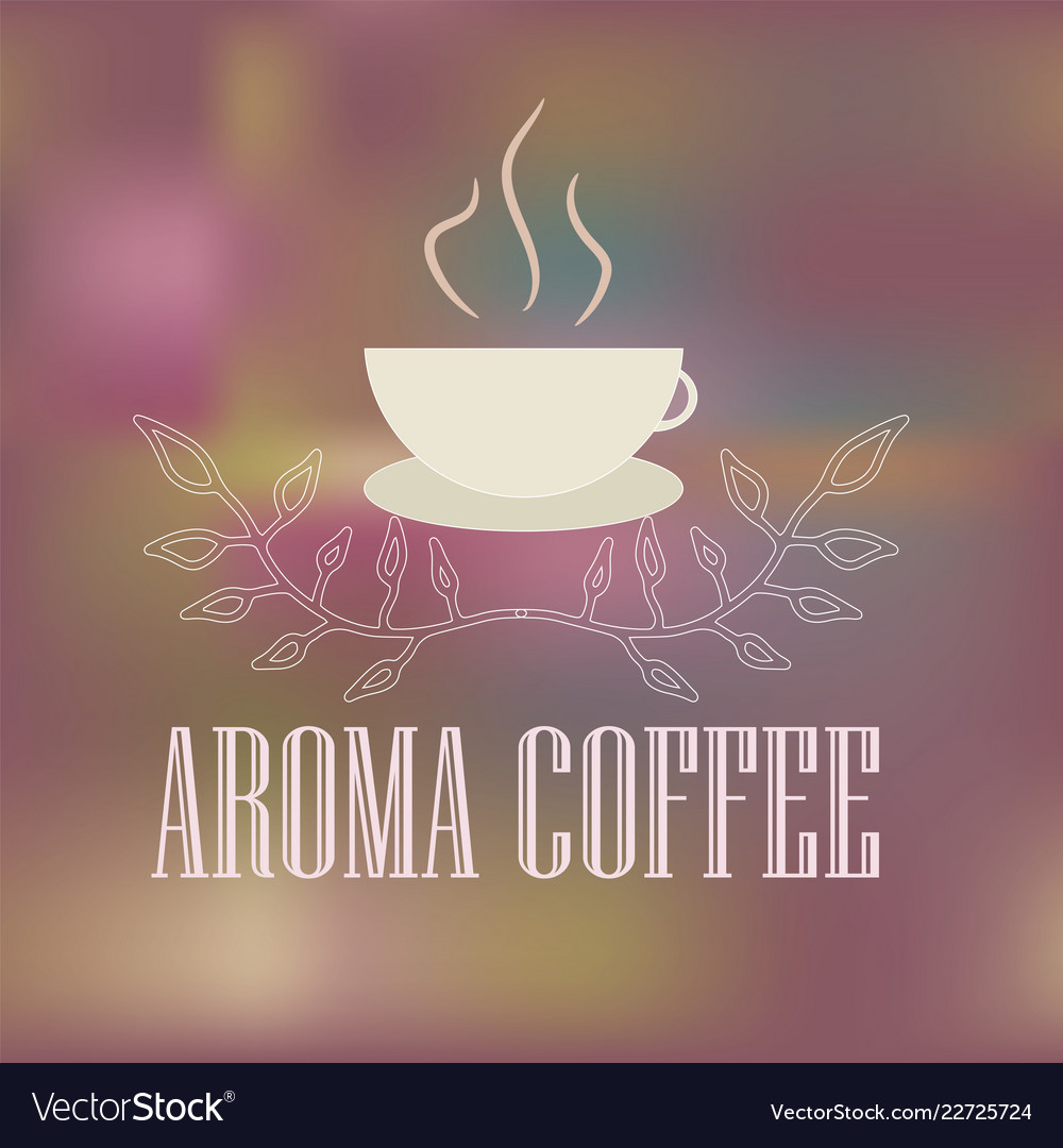Logo with a cup of hot aromatic coffee