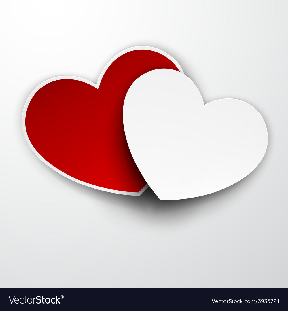 Paper red and white hearts vector image