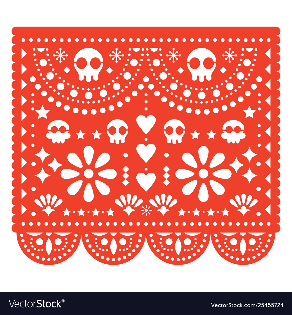 Skulls papel picado design mexican pattern
