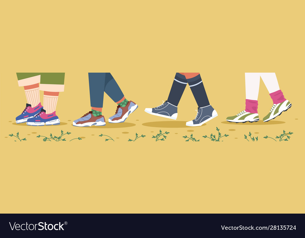 sneakers and legs trendy male and female feet in vector image vectorstock