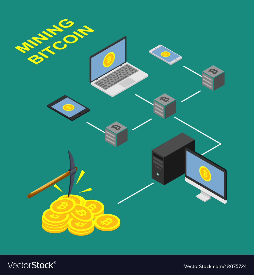 The Concept Of Bitcoin Extraction Design Scheme Vector Image