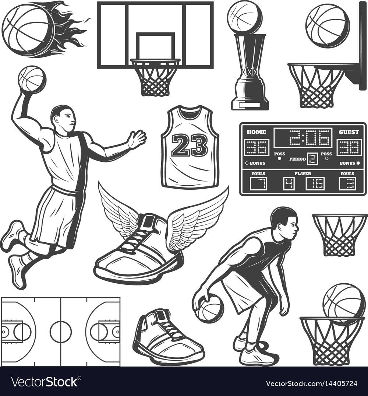 Vintage basketball elements set vector image