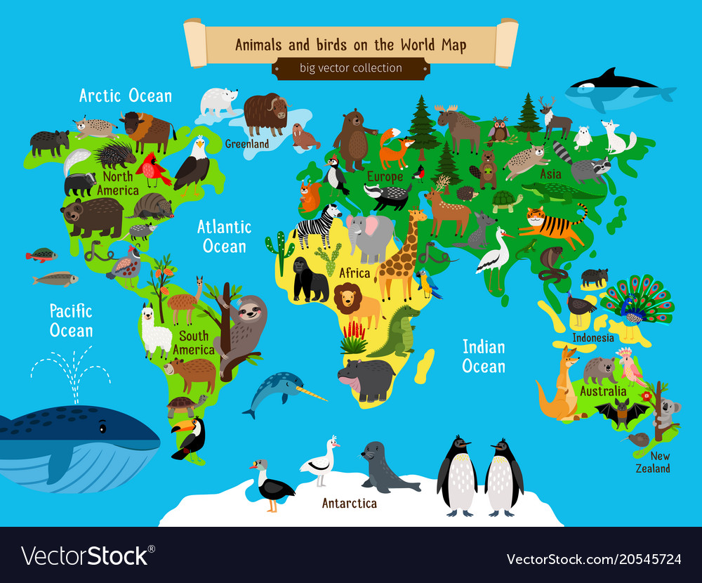World Map Animals Europe And Asia South And Vector Image