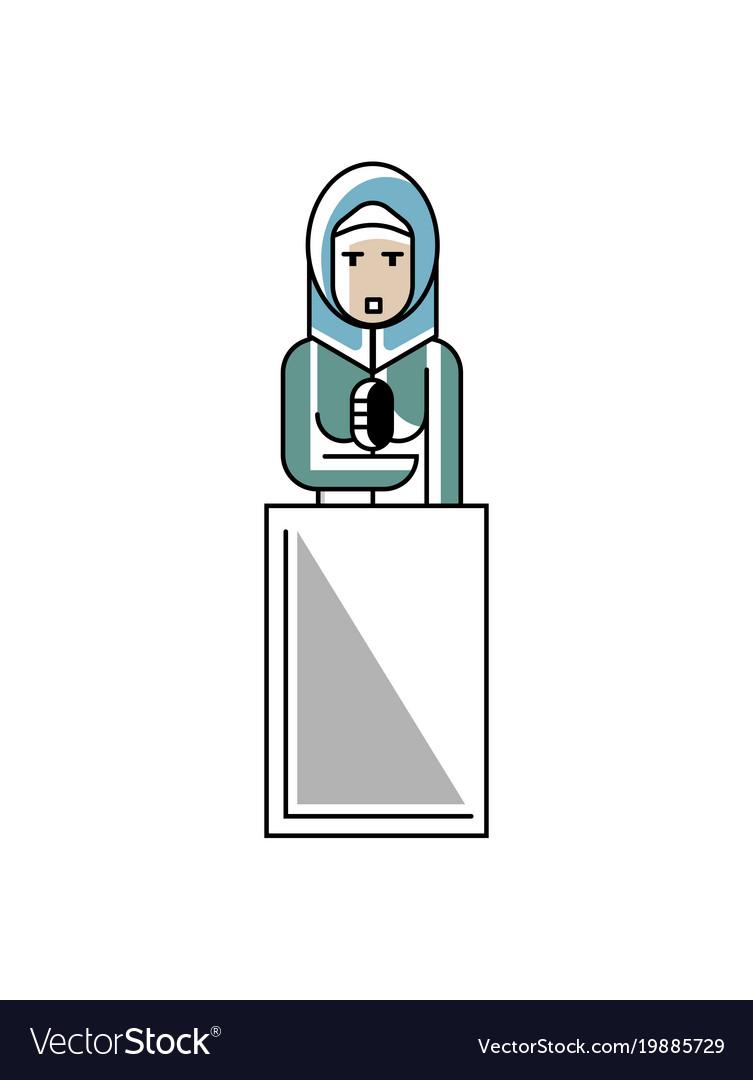 Arabic businesswoman speech on tribune