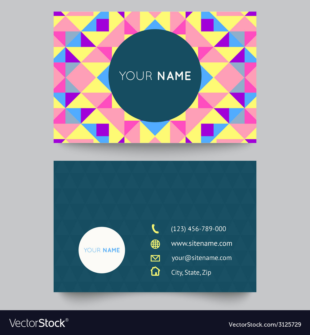 Business card template abstract colorful geometric