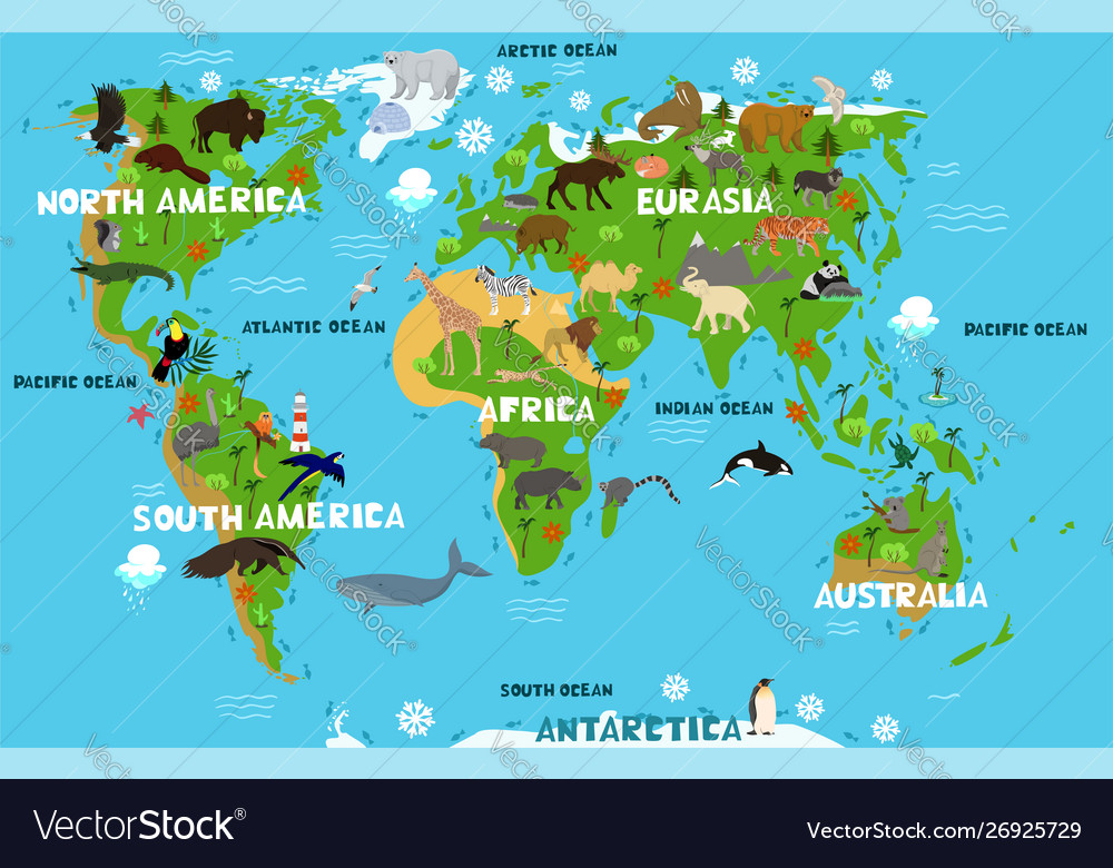 Children s world map with names continents