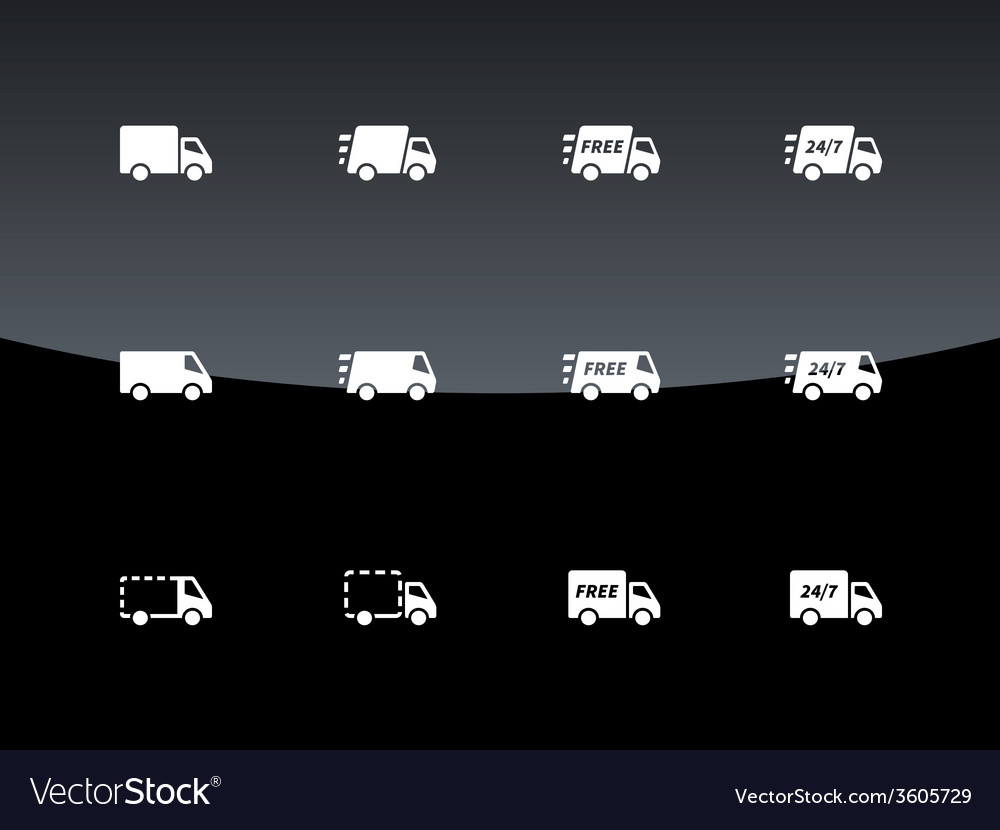 Commercial van icons on black background