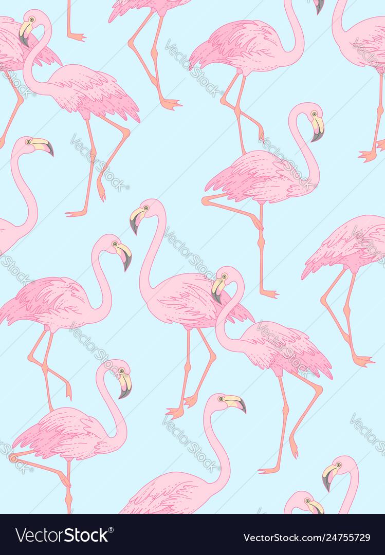 Flamingo on blue