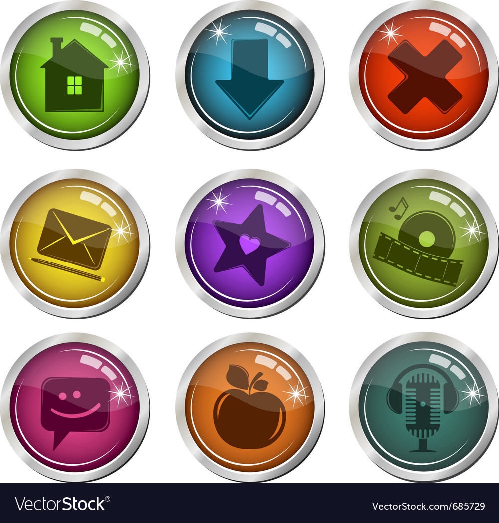 Glassy buttons for interface vector image