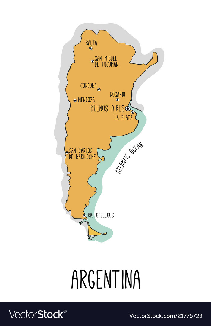 Hand drawn map of argentina with main cities each on map of cities fl, map of cities mt, map of cities va, map of cities ar, map of cities tn, map of cities france, map of cities united states, map of cities ms,