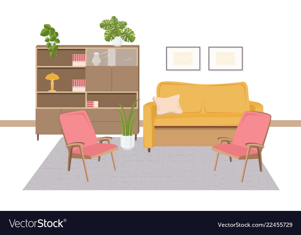 Interior of living room furnished with retro