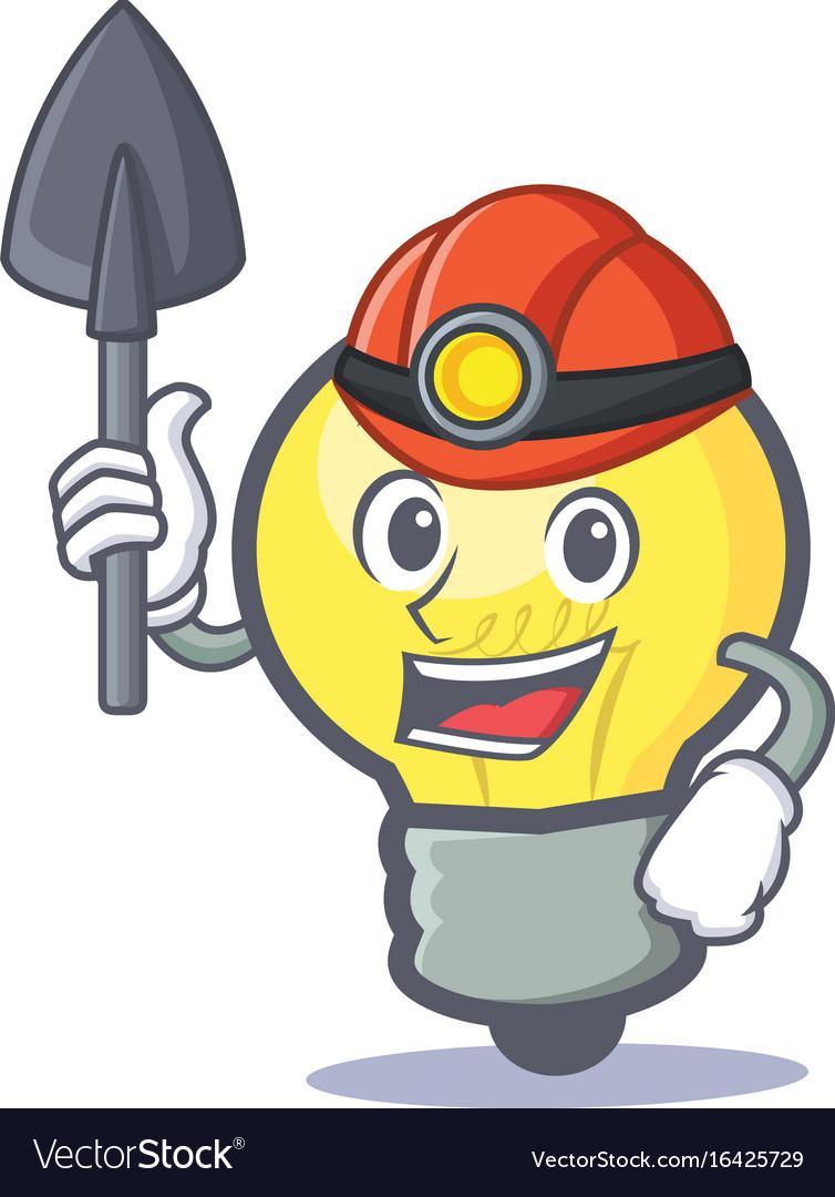 Miner light bulb character cartoon