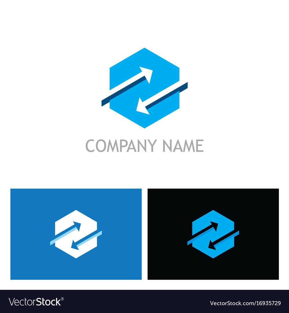 Polygon arrow exchange logo vector image