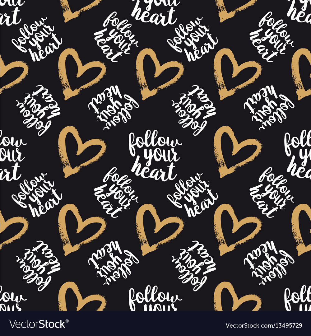 Seamless pattern from hearts on black
