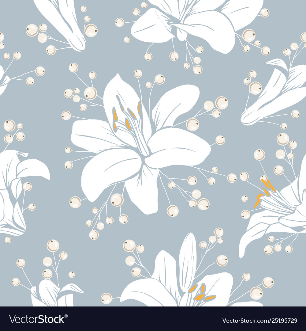 Seamless pattern with flowers lilium floral