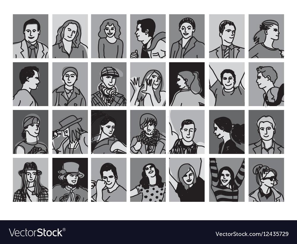 Set avatars black and white people icons