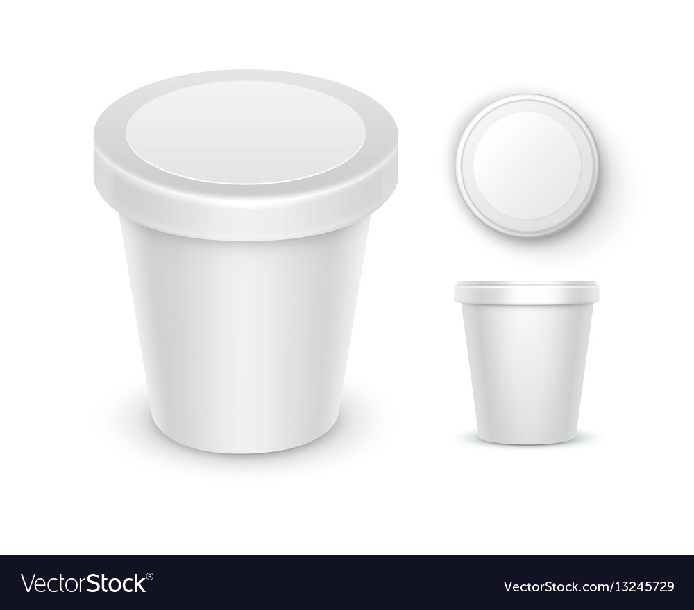 Set of bucket container for dessert ice cream vector image