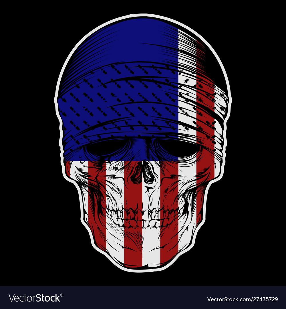 Skull bandana with usa flag hand drawing