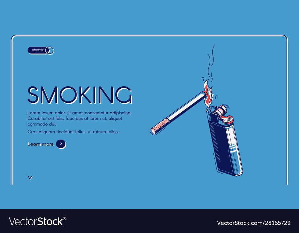 Smoking isometric landing cigarette and lighter