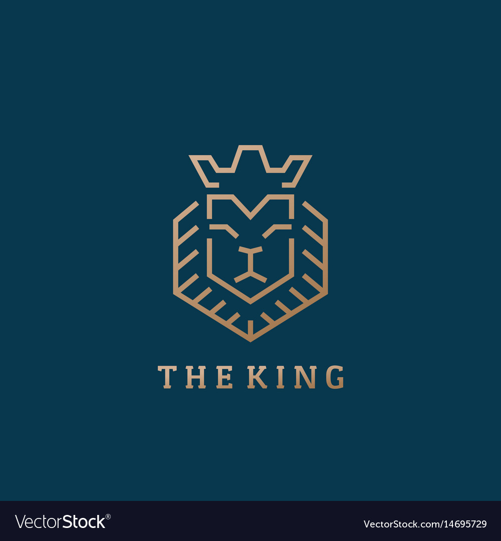 The king lion face line style abstract sign vector image