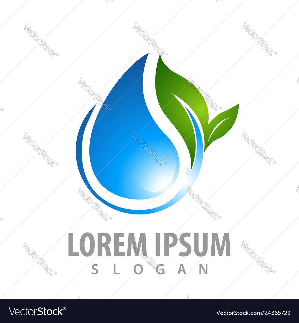 Water drop with leaf concept design symbol