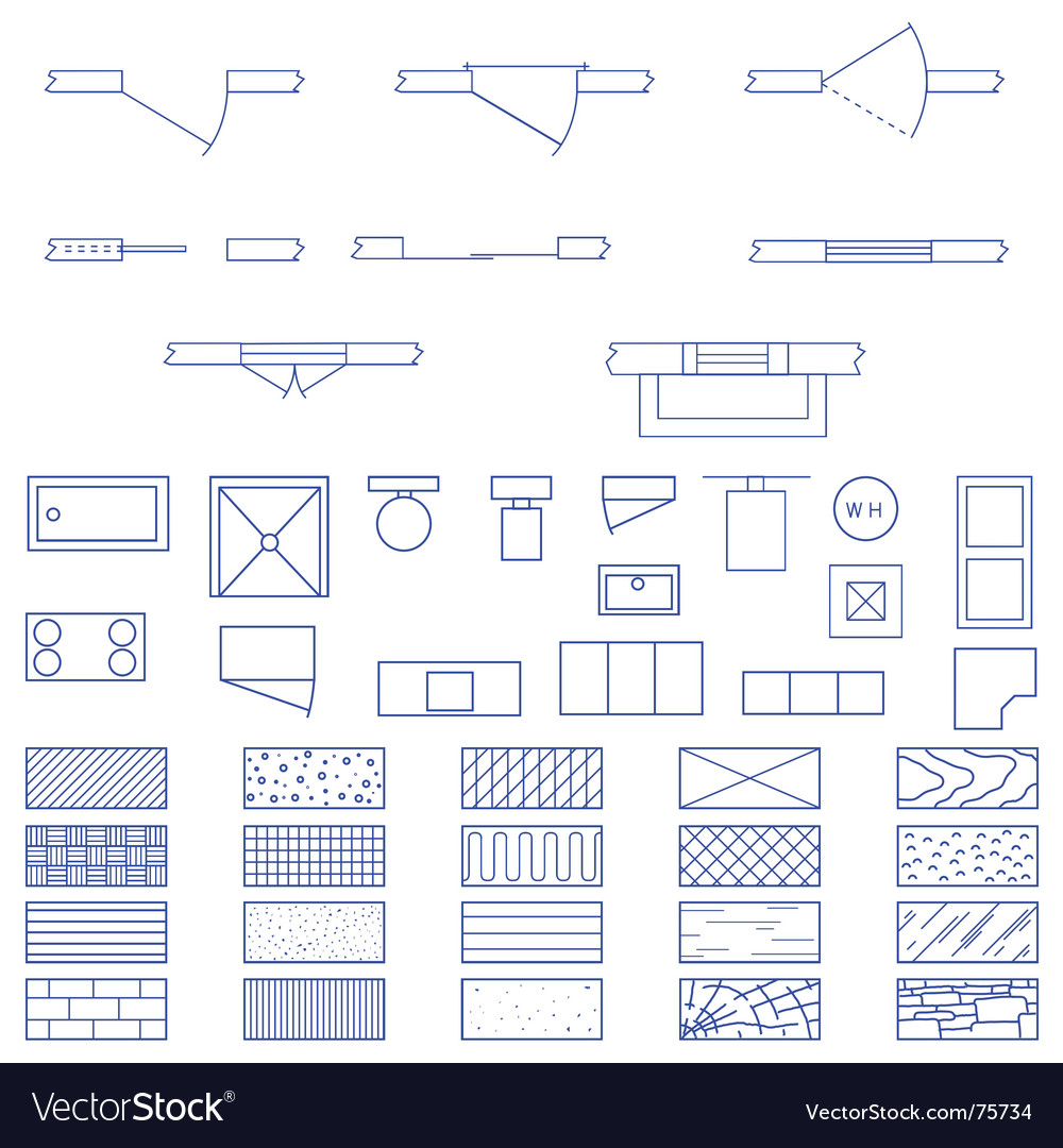 Architecture Blueprint Symbols Royalty Free Vector Image