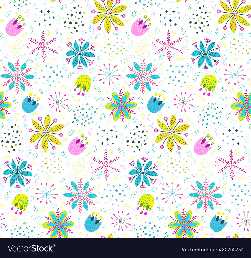 Floral pattern background with flowers and leaves