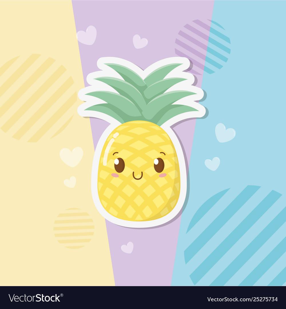 Fresh Pineapple Fruit Kawaii Character