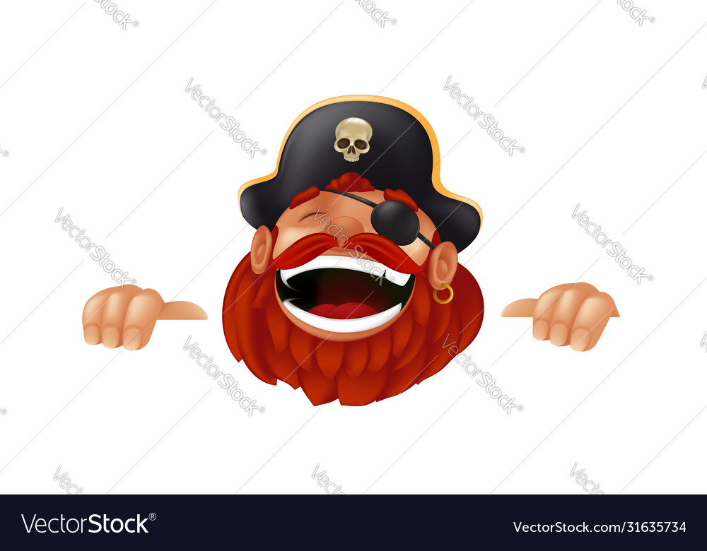 Funny cartoon pirate character laughing sticking