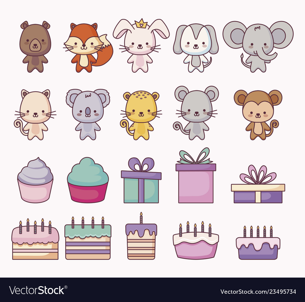 Group of cute animals and set icons