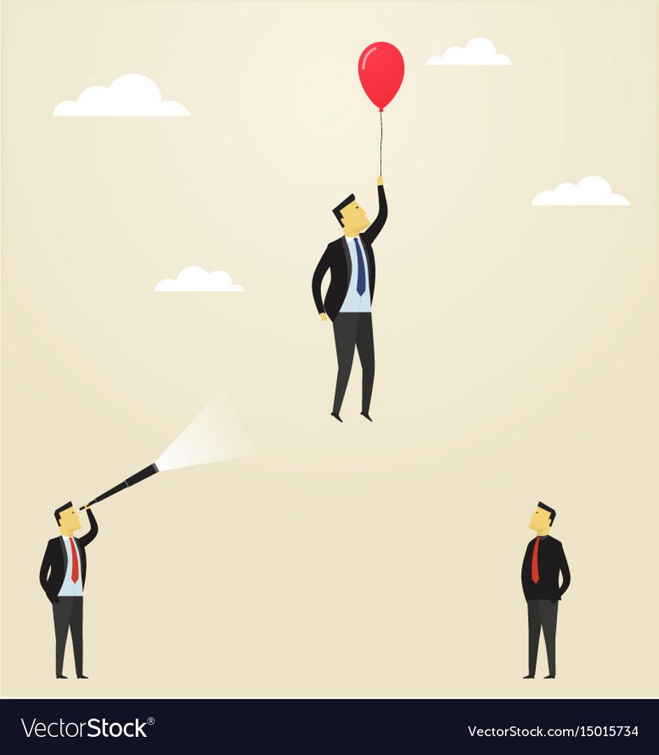 Man flying upside in a balloon