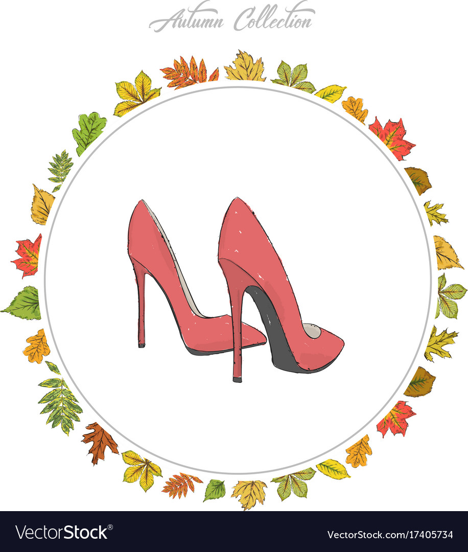 Model shoes hand draw autumn collection frame of Vector Image
