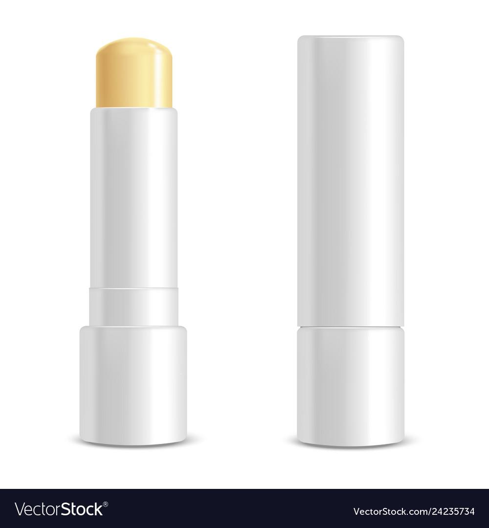Realistic 3d detailed white blank lip balm stick