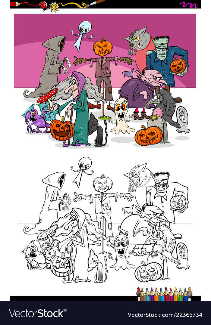Spooky halloween cartoon characters coloring book