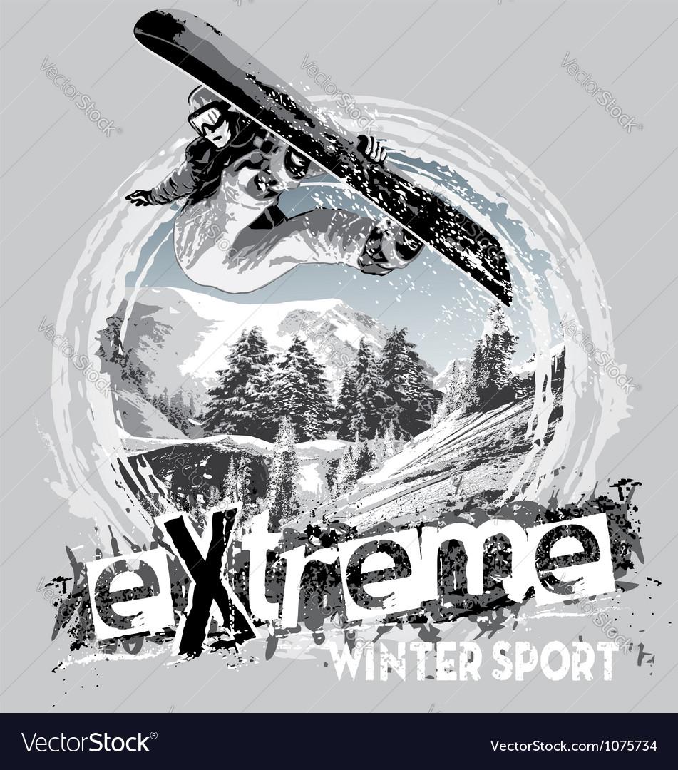 Winter sport snowboard vector image