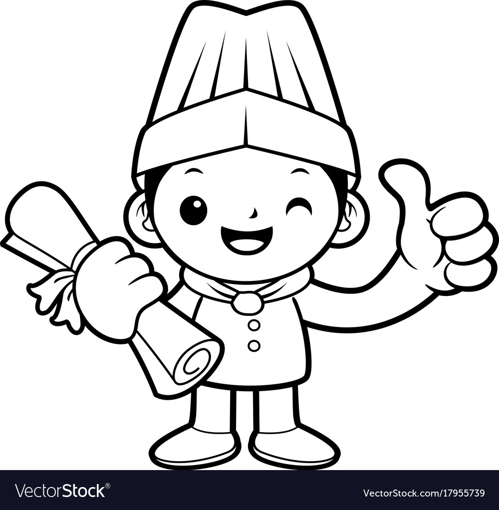 Black and white funny cook mascot academic