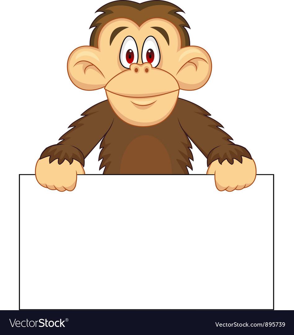 Chimpanzee cartoon with blank sign vector image