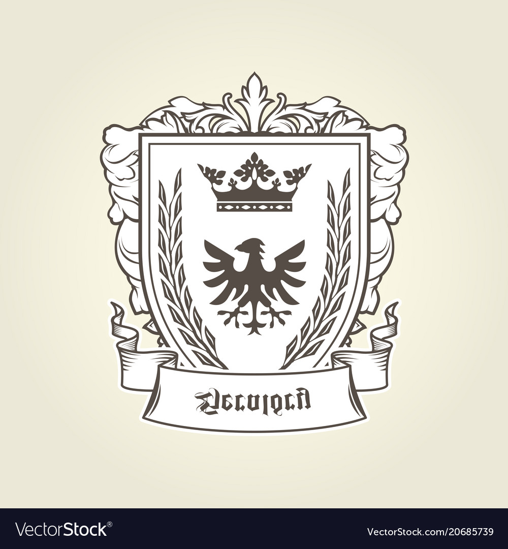 Coat arms with heraldic eagle on shield