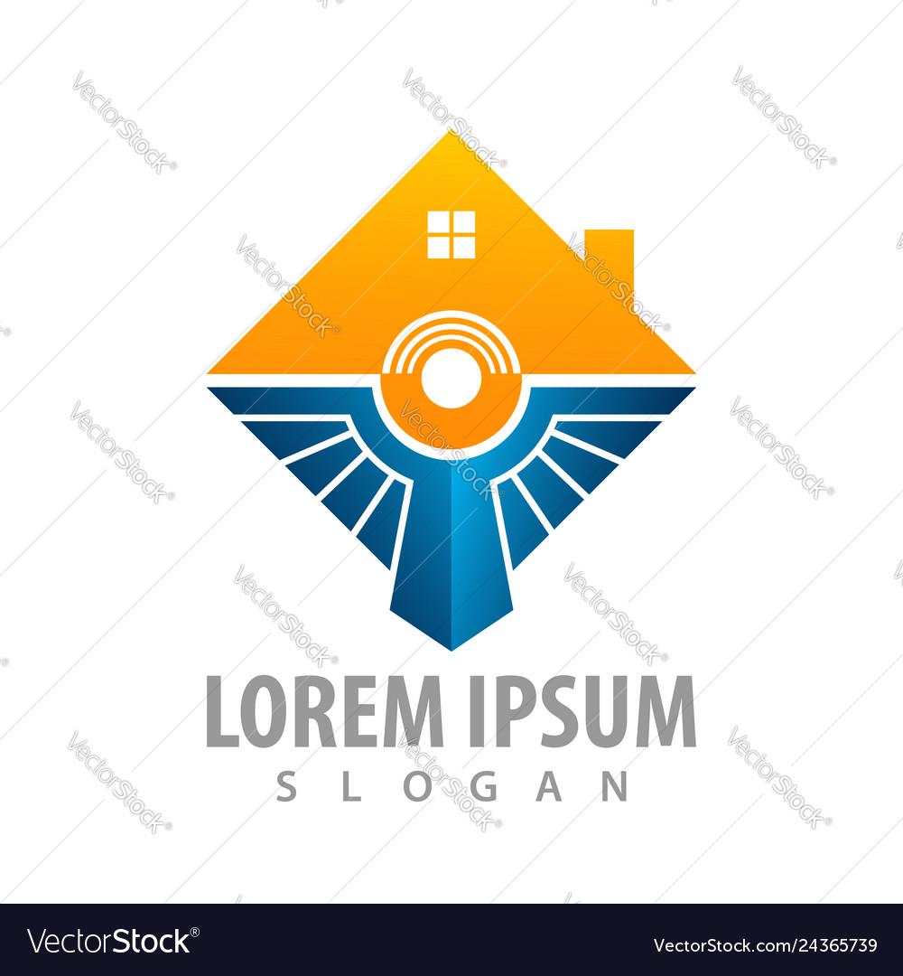 Creative square house concept design symbol