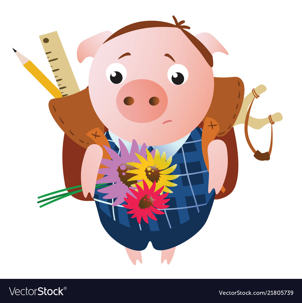 Cute sad schoolboy pig with a backpack