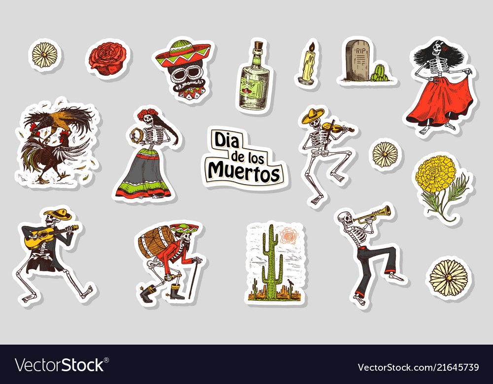Dancing skeletons day of the dead stickers