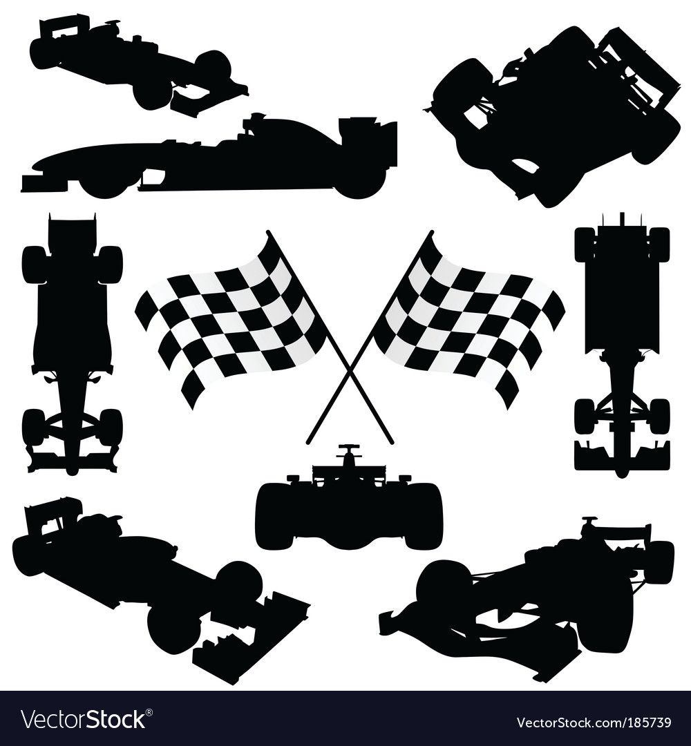 Formula cars flag and icon vector image